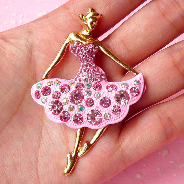 Dancing Lady Cabochon / Rhinestone Cabochon (Gold, Pink / 42mm x 65mm) Metal Decoden Piece Bling Embellishment Sparkle Jewelry Making CAB163