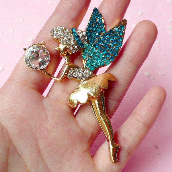Fairy Cabochon with Bling Bling Rhinestones / Alloy Metal Cabochon (Gold & Teal Blue Green / 54mm x 72mm) Bling Bling Cell Phone Deco CAB158