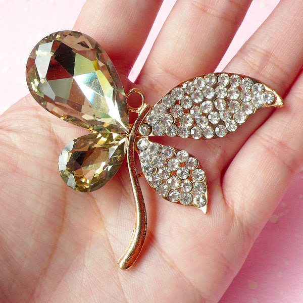 Large Butterfly Charm Pendant / Metal Insect Cabochon (Gold with Champagne & Clear Rhinestones / 62mm x 53mm) Bling Embellishment CAB159