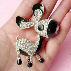 Rhinestones Donkey Metal Cabochon / Big Horse Animal Cabochon (47mm x 69mm) Bling Bling Phone Case Decoration Large Decoden Piece CAB165