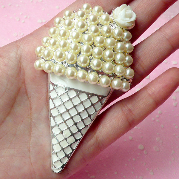 Large Ice Cream Metal Cabochon with Faux Pearl / Kawaii Cabochon (Silver & White / 48mm x 85mm) Decoden Phone Case Big Embellishment CAB169