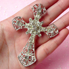 Large Metal Cross Cabochon w/ Clear Rhinestones (Silver / 55mm x 75mm) Bling Christmas Decoration Cell Phone Case Deco Decoden Piece CAB171