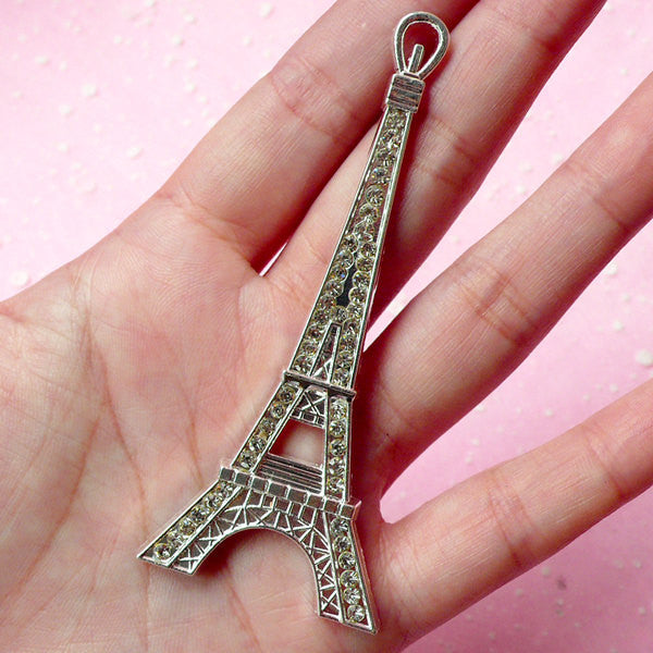 Tower Metal Cabochon (Silver) with Clear Rhinestones (82mm x 34mm) Cell Phone Deco Jewelry Pendant Making Decoden CAB172