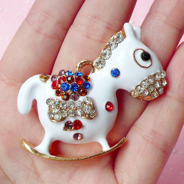 Large Rocking Horse Charm Pendant with Rhinestone / Metal Animal Cabochon (47mm x 41mm / White) Bling Jewelry Necklace Making Decoden CAB166