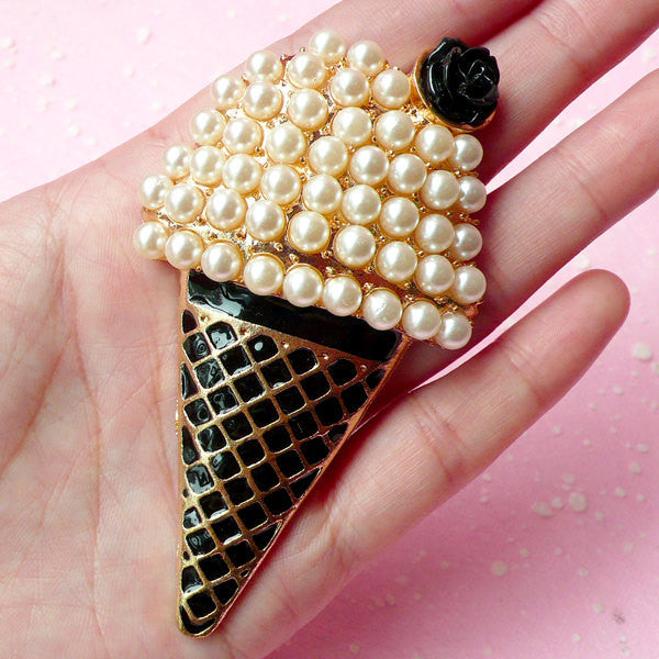 Ice Cream Cabochon with Cream Pearl / Big Alloy Metal Decoden Cabochon (Gold & Black / 48mm x 85mm) Kawaii Goth Deco Gothic Lolita CAB170