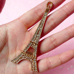 Tower Metal Cabochon (Gold) with Clear Rhinestones (82mm x 34mm) Cell Phone Deco Jewelry Pendant Making Decoden CAB173