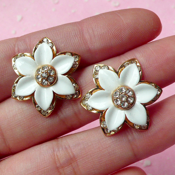 Flower Metal Cabochon / Floral Decoden Piece (2pcs / 23mm / White & Gold with Clear Rhinestones) Scrapbooking Flower Earrings Making CAB174
