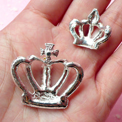 Rhinestone Crown Cabochons / Bling Bling Alloy Metal Cabochon (Silver / 1 Set / 21mm & 32mm) Decoden Pieces Hair Jewellery Making CAB176