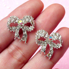 Ribbon Metal Cabochon (Silver) with Clear Rhinestones (17mm) (2pcs) Cell Phone Deco Earrings Making Decoration Decoden Supplies CAB177