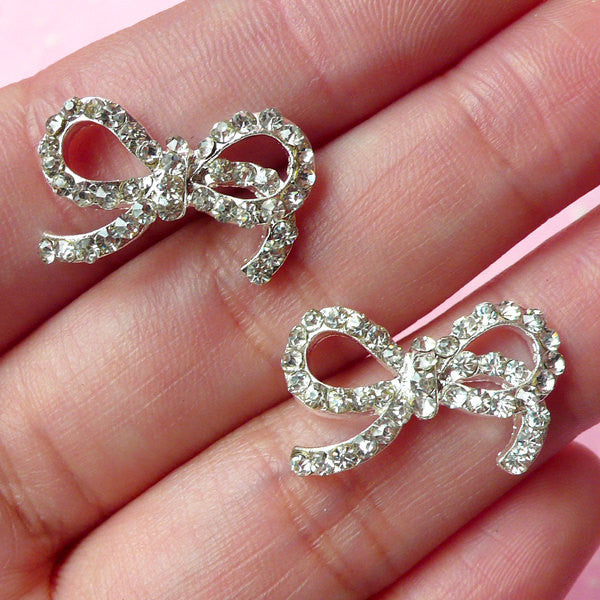 Ribbon Metal Cabochon (Silver) w/ Clear Rhinestones (20mm x 12mm) (2pcs) Cell Phone Deco Earrings Making Decoration Decoden Supplies CAB178