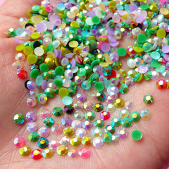 AB Resin Round Faceted Rhinestones Mix (3mm) (200 pcs) Decoden Kawaii Cell Phone Deco Scrapbooking Nail Art Nail Decoration RHM019