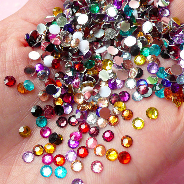 4mm Resin Round Faceted Rhinestones Mix (1000 pcs) Decoden Kawaii Cell Phone Deco Scrapbooking Nail Art Nail Decoration RHM022