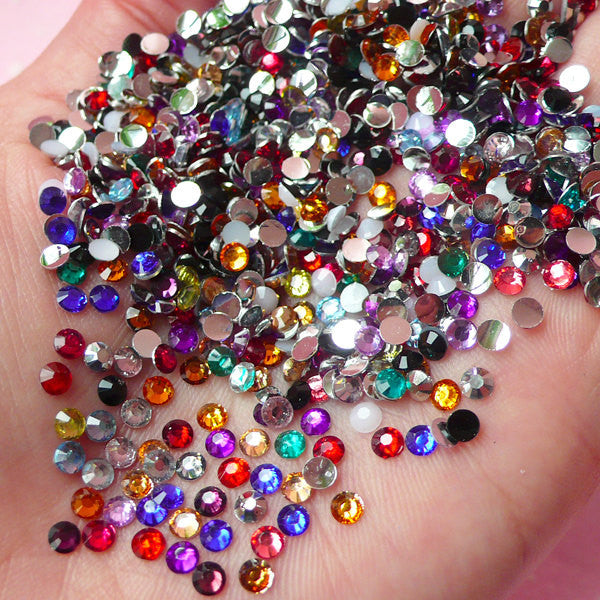 3mm Resin Round Faceted Rhinestones Mix (1000 pcs) Decoden Kawaii Cell Phone Deco Scrapbooking Nail Art Nail Decoration RHM021