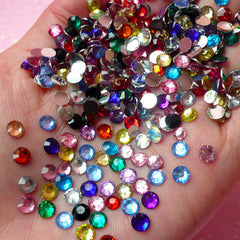 5mm Resin Round Faceted Rhinestones Mix (500 pcs) Decoden Kawaii Cell Phone Deco Scrapbooking RHM023