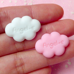 Cloud Cabochon (White and Pink) (2pcs) 23mm x 16mm Kawaii Cabochon Cell phone Deco Scrapbooking Decoden CAB184