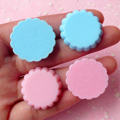Kawaii Tart Bottom Cabochon (4pcs / 25mm x 6mm / Pastel Blue & Pink) Fake Miniature Sweets Making Dollhouse Food Decoden Supplies FCAB062