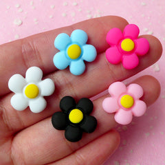 Flower Cabochon Mix Assorted Flower Cabochon Set (17mm) (Pastel Color) Flower Jewelry Cell Phone Deco Decoden Scrapbooking (5 pcs) CAB182