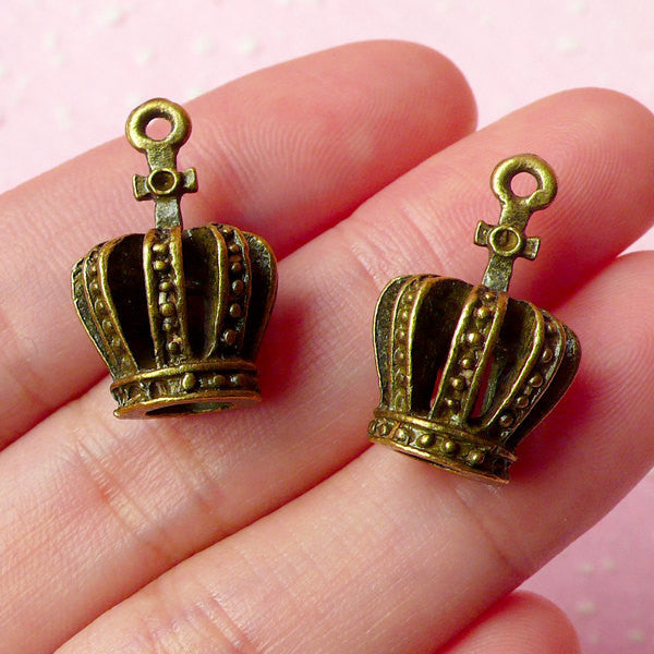 3D Crown Charms Antique Bronzed (2pcs) (13mm x 21mm) Metal Finding Pendant Bracelet Earrings Zipper Pulls Bookmarks Key Chains CHM012