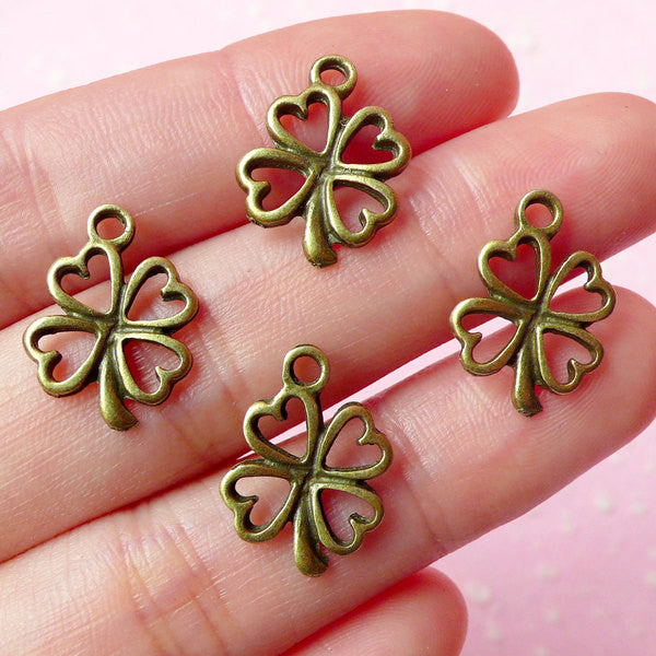 Antique Bronzed Four Leaf Clover Charms (4pcs) (16x13mm) Metal Finding Pendant Bracelet Earrings Zipper Pulls Bookmarks Key Chains CHM015