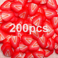 Strawberry Polymer Clay Cane Miniature Strawberry Slices (200pcs) Dollhouse Fruit Cane Fimo Cupcake Toppings Kawaii Nail Decorartion CF006-200