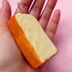 Bread Slice Squishy / Toast Squishy Blank for DIY (6cm / 1pc) Kawaii Squishies Decoden Sweets Cell Phone Deco Squishy Charm Key Rings SQ03