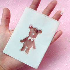 White Gift Bags with Kawaii Bear (20 pcs) Self Adhesive Resealable Plastic Gift Wrapping Bags (7.4cm x 10cm) GB005