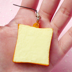 Kawaii Squishy Toast Bread Slice / Squishy Charm / Squishy Blank for DIY (3.8cm / 1 pc) Miniature Sweets Phone Strap Keychains Keyrings SQ02