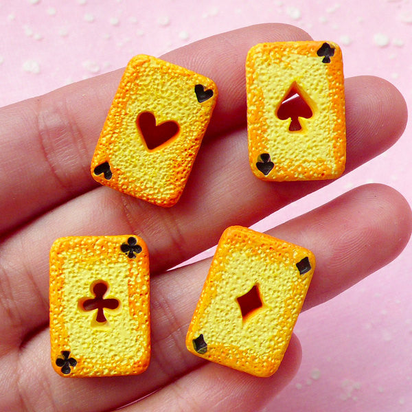 Playing Card Cookie Cabochon Poker Card Sweets Cabochons (4pcs / 14mm x 20mm / Flatback) Kawaii Jewelry Alice in Wonderland Decoden FCAB066