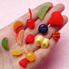 Fake Fruit Topping Cabochon (13pcs / Strawberry Kiwi Apple Orange Cherry Banana Blueberry Pineapple Walnut) Kawaii Miniature Sweets FCAB012