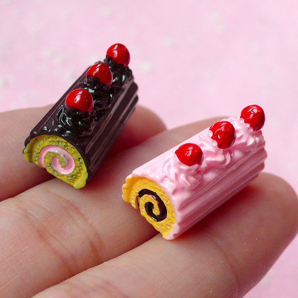 Swiss Roll Resin Cabochon Decoden Sweets Cabochon (2pcs / 10mm x 20mm / Strawberry & Chocolate) Dollhouse Miniature Kawaii Supplies FCAB067