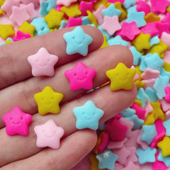 Kawaii Happy Star Cabochons / Polymer Clay Decoden Cabochon (8pcs / Pastel Color / 12mm / Flat Back) Baby Shower Decor Table Scatter FCAB075