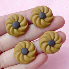 Fimo Cabochons / Polymer Clay Cookie Cabochon / Chocolate Biscuit (4pcs / 21mm) Fake Sweets Craft Decoden Supplies Kawaii Phone Case FCAB072