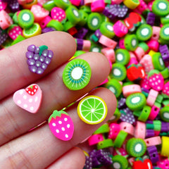 Miniature Fruit Polymer Clay Beads Mix with HOLE (10pcs by Random / 10mm) Kawaii Fimo Jewelry Dollhouse Food Charms Chunky Bracelet FCAB074