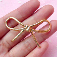 Gold Ribbon Charm / Large Bowknot Pendant / Alloy Metal Cabochon (51mm x 26mm) Kawaii Bow Decoden Piece Embellishment Jewelry Making CAB185