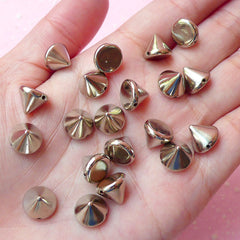 Rivet / SILVER Cone Rivet Studs Flatback Conical Rivet w/ Hole 10mm (20pcs) Spikes Beads Charms Sewing Pendants Bracelets Decoden RT33