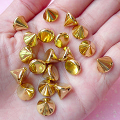Rivet / GOLD Cone Rivet Studs Flatback Conical Rivet w/ Hole 10mm (20pcs) Spikes Beads Charms Sewing Pendants Bracelets Decoden RT32