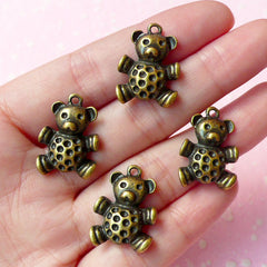 Toy Bear Charms Doll Charm (4pc / 21mm x 16mm / Antique Bronzed) Jewelry Findings Pendant Bracelet Zipper Pulls Bookmark Keychains CHM041