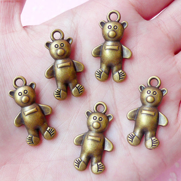 Bear Charms Animal Charm (5pcs) (25mm x 14mm) Antique Bronzed Metal Finding Pendant Bracelet Earrings Zipper Pulls Bookmark Keychains CHM040