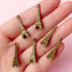 3D Tower Charms (6pcs) (24mm x 7mm) Antique Bronzed Metal Finding Pendant Bracelet Earrings Zipper Pulls Bookmark Keychains CHM049