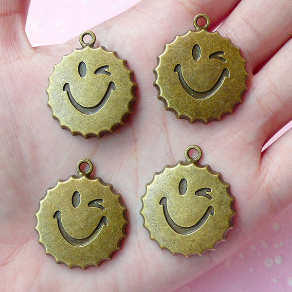 Bottle Cap Charms Smiley Charms (4pcs) (29mm x 24mm) Antique Bronzed Metal Finding Pendant Bracelet Zipper Pulls Bookmark Keychains CHM055