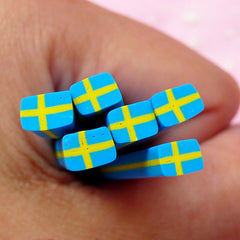 Sweden Flag Polymer Clay Cane Swedish Flag Fimo Cane Swede Flag Cane (Cane or Slices) European Country Europe Scrapbook Embellishments CE055