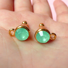 Cellphone Dust Plug / Earphone Jack / Ear Phone Plug w/ Rhinestone (w/ Hole / 2pcs) (Frosted Green Creamy Green Opaque Jade, Gold) EJ37