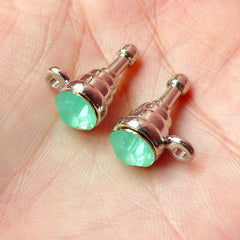 Cell Phone Dust Plug / Ear Phone Jack / Earphone Plug w/ Rhinestone (w/ Hole / 2pcs) (Frosted Green Creamy Green Opaque Jade, Silver) EJ39