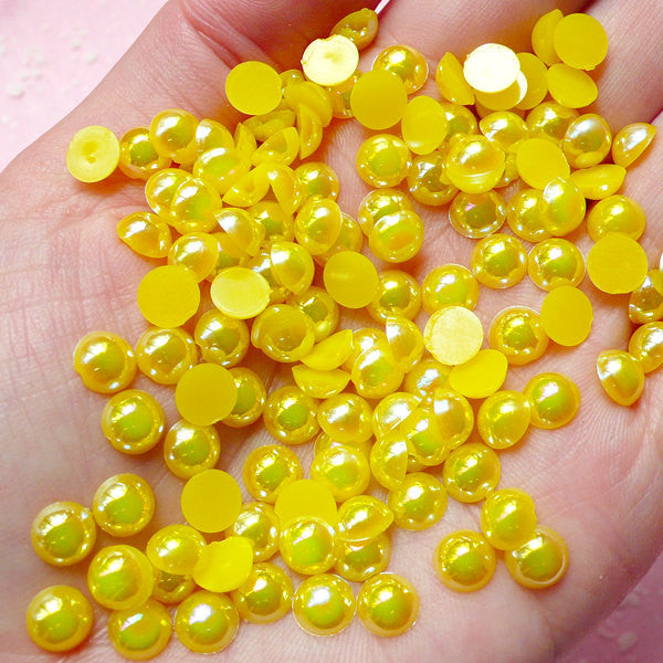 6mm AB Yellow Half Pearl Cabochons / Round Flat Back Faux Pearlized Cabochons (around 100 pcs) PEAB-Y6