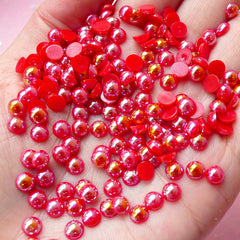 5mm AB Red Half Pearl Cabochons / Round Flat Back Faux Pearlized Cabochons (around 150 pcs) PEAB-R5