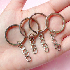 Silver Split Key Ring with Chain (25mm / Tibetan Silver / 10pcs) Keychain Key Holder Keyring Key Tag Key Fob Making Charm Connectors F069