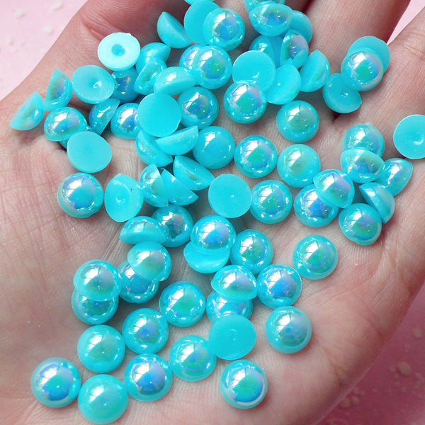 8mm AB Sky Blue Half Pearl Cabochons / Round Flat Back Faux Pearlized Cabochons (around 80 pcs) PEAB-SB8