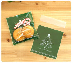 CLEARANCE Christmas Tree Gift Bags I Wish You A Merry Christmas (20pcs) Self Adhesive Resealable Plastic Handmade Gift Wrapping Bags 10cm x 11cm GB020