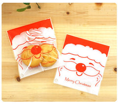 "Santa Claus Gift Bags w/ ""Merry Christmas"" (20 pcs) Self Adhesive Resealable Plastic Handmade Gift Kawaii Wrapping Bags (10cm x 11cm) GB021"
