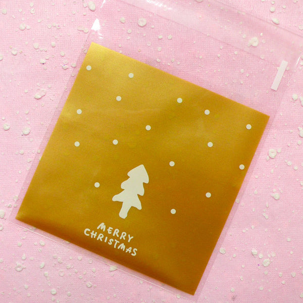 Christmas Tree Gift Bags Merry Christmas (20 pcs / Gold) Self Adhesive Resealable Plastic Handmade Gift Wrapping Bags (10cm x 10.1cm) GB022